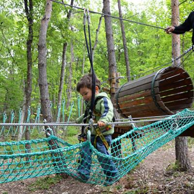 High Ropes Adventure crossing the netting