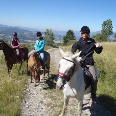 Horse Riding in the Alps near Chapeau Napoleon
