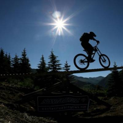 mountain biking bike park silhouette