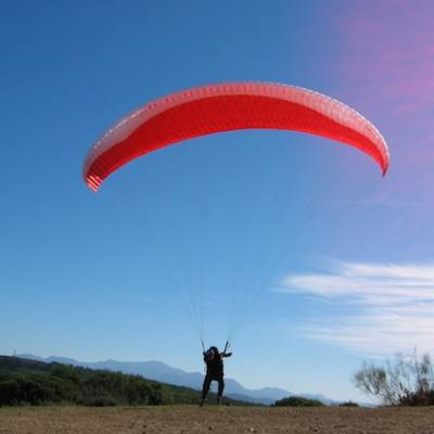 Paragliding in the Champsaur in the Alps red parac