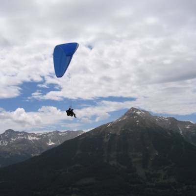 Paragliding in the mountains above the Ecrins