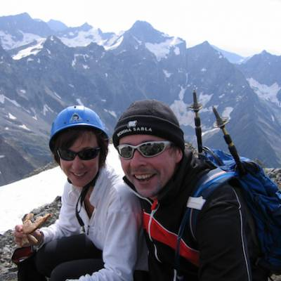 Mountaineering les rouies on the summit