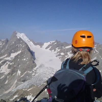 Mountaineering admiring the view of the Ecrins