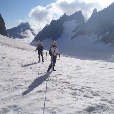 Mountaineering traversing the glacier Blanc