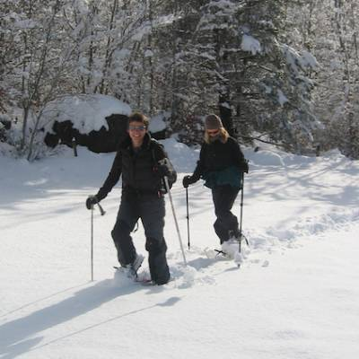 Snowshoeing - snowshoeing in the Alps