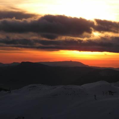 Snowshoeing sunset