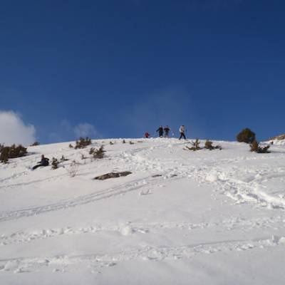 Snowshoeing in the Alps in winter