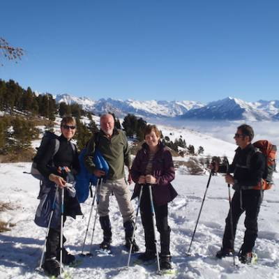 Snowshoeing at the top of the Alps