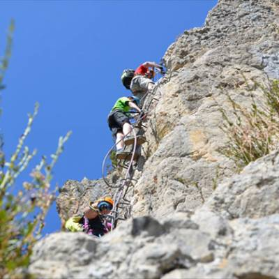 Via ferrata on an activity holiday in the French Alps