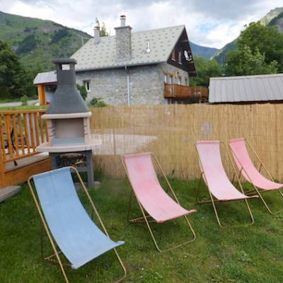 The Counit Chalet near Orcieres ski resort in the Alps sun loungers