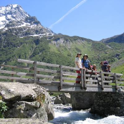 walking in the French Alps alpine bridge