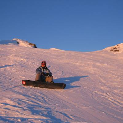 Snowboarding sunset