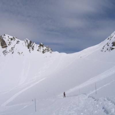 Skiing at top of resort