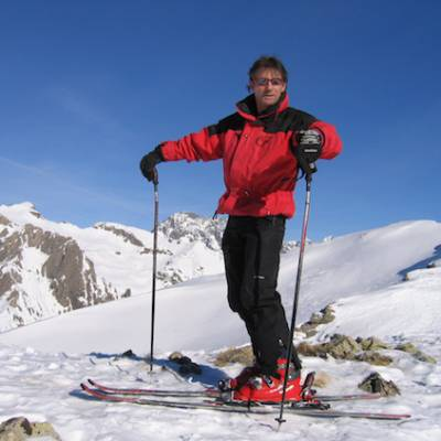 Skiing on the top with view