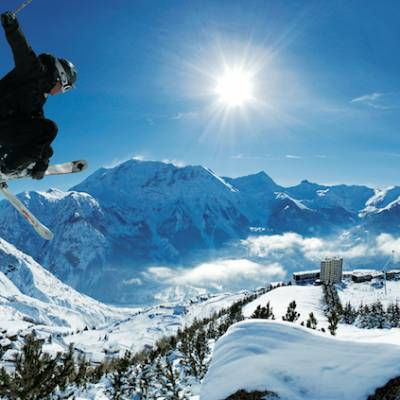 Skiing and Snowboarding in Orcieres in the Alps