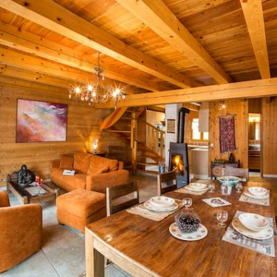 Living room in intiwasi chalet in the french Alps