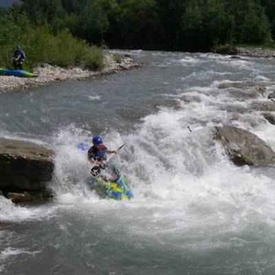 Kayaking in the Alps on the river drac