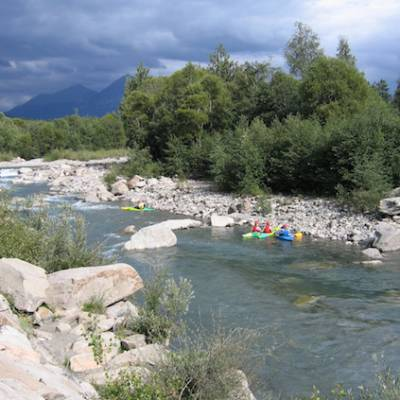 Kayaking white water beginners course in the Alps