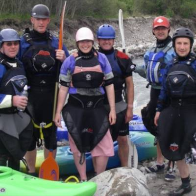 Kayaking white water team