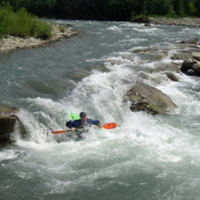 Kayaking on the drac in the French Alps