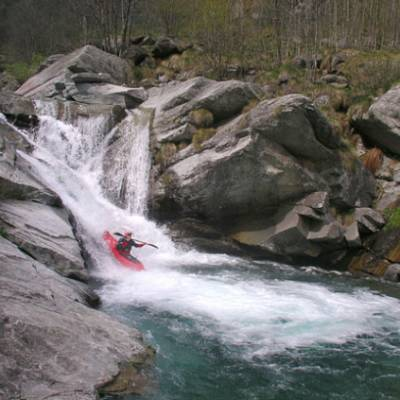 Kayaking white water rapids in the French Alps