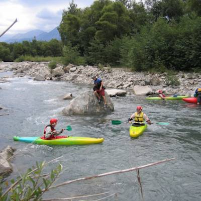 Kayaking white water beginners course on the river Drac