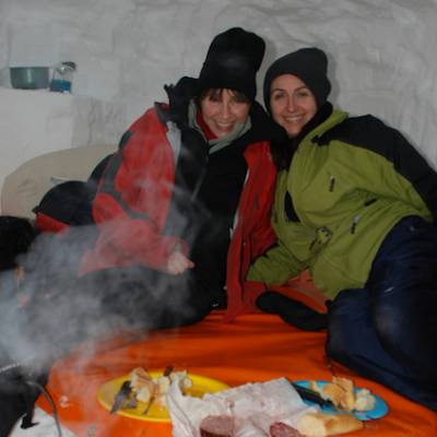 igloo expedition - eating in an igloo for the night