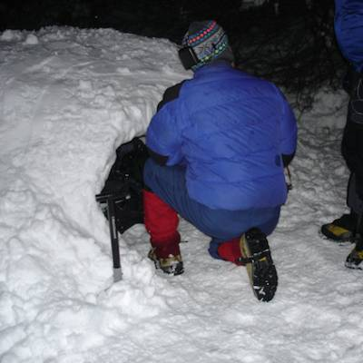 Igloo expedition - getting into the igloo for the night